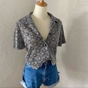 Vintage Miss Dorby Cropped Sheer Daisy Button Down
